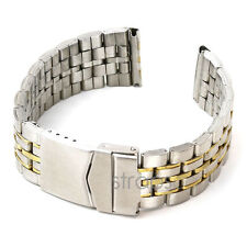 StrapsCo Silver Tone SS Stainless Steel Mens Watch Strap Band 18mm 20mm 22mm