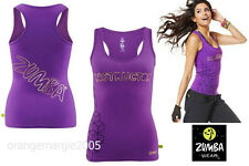 ZUMBA Instructor FABTASTIC RacerBack Tank~Gold Foil Metallic Bling~EliteZWear  L