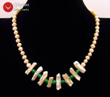 6-7mm round Natural Pink pearl and Biwa Pearl & Green Jade 17'' Necklace-ne6171