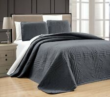 NEW Twin XL Full Queen Cal King Bed Gray Grey 3 pc Coverlet Quilt Bedspread Set