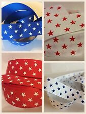 "1 metre STARS GROSGRAIN RIBBON - 38mm (1.5"") wide - cakes, crafts, bows"
