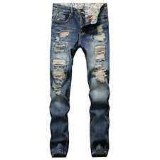 Mens Ripped Retro Personalized Slim Skinny Pants Destroyed Straight Casual Jeans