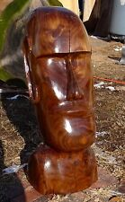 """Chainsaw Carved Easter Isle Wood Head Art Carving """"One of a Kind"""" Black Walnut"""