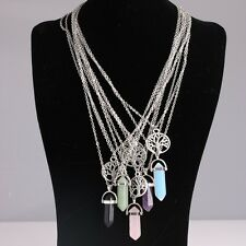 Summer Jewelry Necklace Silver Plated Tree Natural Stone Multilayer Pendant