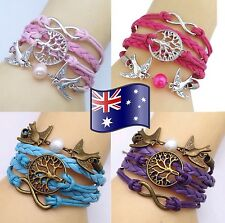 Infinity Tree of Life Birds Braided Bracelet Friendship Inspiration - 11 Colours