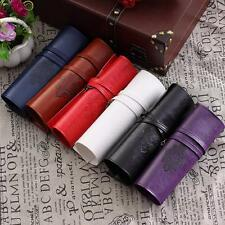 Cosmetic Roll Make Up Pen Pencil Case Pouch Leather Purse Bag