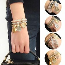 Jewelry Alloy Charm Cuff Bangle Bracelet Rhinestone Hollow Carving
