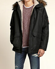Abercrombie & Fitch - Hollister Mens Jacket Hooded Sherpa XL Black NWT