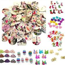 Mixed Color Wood 2-Hole Flat Cute Pattern Sewing DIY Craft Buttons