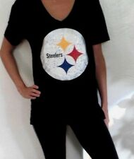 Victorias Secret Pink Bling Pittsburgh Steelers Tee Top Shirt XS S M L Black HOT