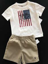 NWT Boys Ralph Lauren Cream polo shirt shorts age 12 months, 18 months or 24