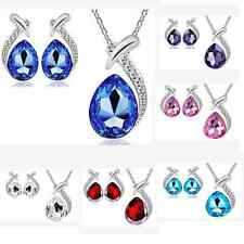 Colorful Women Brilliant Waterdrop Earring Pendant Necklace Crystal Jewelry Set