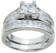 Princess Cut CZ Wedding Engagement Ring Set in Sterling Silver