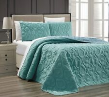 Twin Queen Cal King Bed Spa Blue Beach Coastal Seashells 3 pc Quilt Set Coverlet