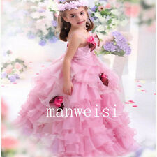 Spaghetti Strap Organza Flower Girl Dresses Wedding Bridal Bridesmaid Gowns 2017
