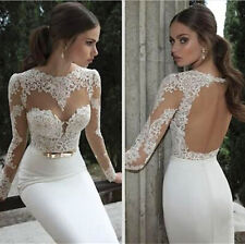 Long-Sleeve Illusion Sheer Bridal Dress Applique Lace Backless Formal Gowns Belt