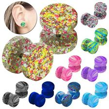 Earstuds Dotted Neon Airbrush Spray 12mm Fake-Plugs Ear Flesh Tunnel Steel Studs