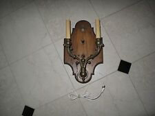 Vintage Wood Antique Brass Italian Wall Sconce