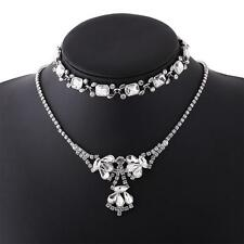 Vintage Crystal Choker Pendant Chain Rhinestone Beaded Necklace Party Jewellery