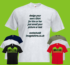 Personalised Design Your Own Mens PRINTED T-SHIRT Custom