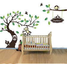 Monkey Tree Kids Nursery Baby Wall Sticker Vinyl Removable Decor Mural Art Decal