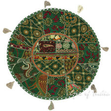 "22"" Green Round Decorative Floor Seating Cushion Pillow Throw Cover Indian Boho"