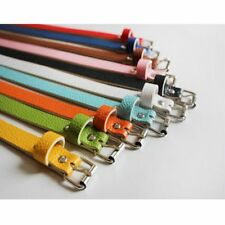 Metal Buckle 8 Candy Colors Waist Belt Women Accessories Thin Faux Leather