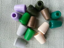 Pack of 6 Plastic Small Bell Shape Cord Ends Stoppers Various Colours