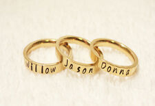 Personalized Stackable Name Ring - Gold Plated Stainless Steel - 3mm Width