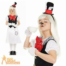 Girls Miss White Rabbit Costume Alice Fairy Tale Fancy Dress Book Day Outfit