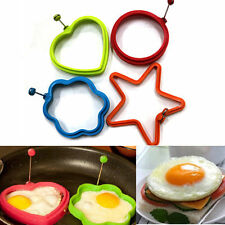 Silicone Omelette Pancake Poach Mould Ring Fried Egg Shaper Cooking Kitchen ON