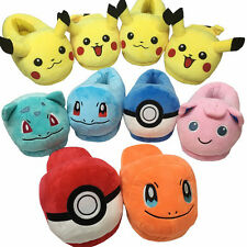 1 Pair Slippers POKEMON Pikachu Charizard Squirtle Soft Plush Stuffed Shoes Gift