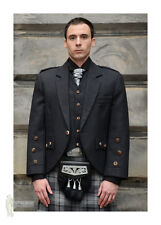 ARACA TWEED SCOTTISH KILT JACKET & VEST - CHARCOAL  - 100% WOOL - CHEST 44""
