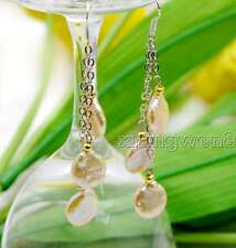 SALE 12-13mm Pink Coin Round 3 PCS Natural Freshwater Pearl dangle Earring-e491