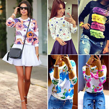 Womens Long Sleeve Floral Printed Jumper Top Pullover Sweatshirt T-Shirt Sweater