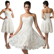 Strapless Lace Ball Cocktail Evening Bridesmaid Short MINI Prom Party Dress Lady