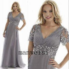 Wedding Bridal Long Chiffon Mother Of the Bride Dresses V-Neck Formal Gowns Bead