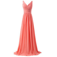 Sleeveless V Neck Long Evening Party Dress Plus Size Bridesmaid Prom Gowns WD176