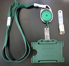 Green Lanyard,Belt Reel,Metal Clip & Paramedic/First Aider's ID Pass Card Holder