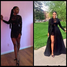 Long-Sleeve Sexy Lace Black Cocktail Prom Evening Party Dresses Detachable Train