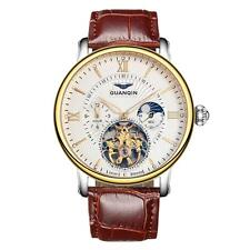 GUANQIN Mens Stainless Steel Skeleton Dial Roman Automatic Mechanical Watch N2G9