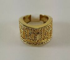 Fashion Jewelry Rings Wide Band Gold Greek Key Design Pave 18K Rhodium Plated