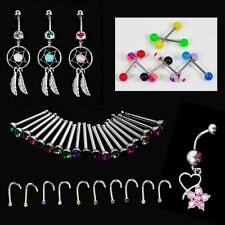 Crystal Catcher Navel Dangle Barbell Nose Tongue Belly Bar Ring Body TXGT