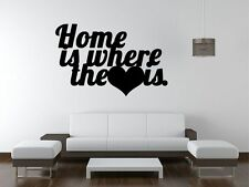 ❤️ HOME IS WHERE THE HEART IS  Love Wall Quotes / Art Wall Sticker Decal Vinyl D