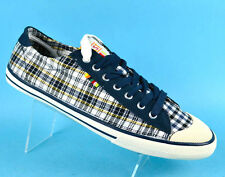 COAST Mens Canvas Trainers Plimsolls Festival Casual Shoes White Blue Checked