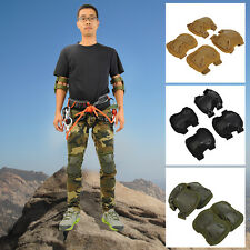 4pcs Tactical Airsoft Combat Protect Knee Pads Adjustable knee+Elbow Pad Set