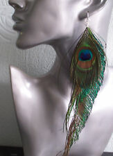 Peacock Feather Sword Earrings Extra Long Sexy - Handmade - Clip on option