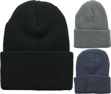 100% Worsted Wool Ribbed Watch Cap Beanie Knit Hat USA Made