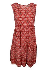 Max Studio Red White Blue Floral Border Print Sleeveless Tiered Dress $128