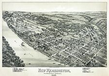 Large Poster Antique Historic Map; New Kensington, PA Thaddeus Fowler 1896